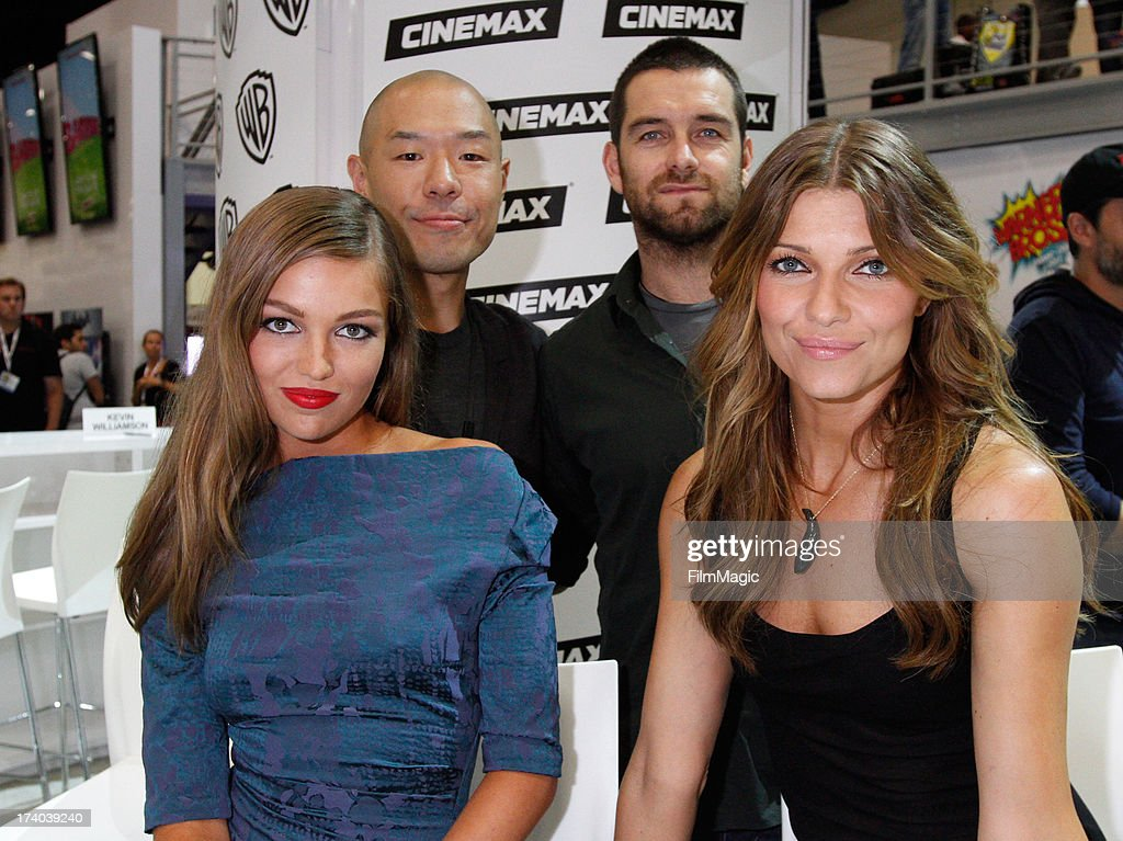 Actors Lili Simmons, Hoon Lee, Antony Starr and <a gi-track='captionPersonalityLinkClicked' href=/galleries/search?phrase=Ivana+Milicevic&family=editorial&specificpeople=2529749 ng-click='$event.stopPropagation()'>Ivana Milicevic</a> attend Cinemax's 'Banshee' cast autograph signing at San Diego Convention Center on July 19, 2013 in San Diego, California.