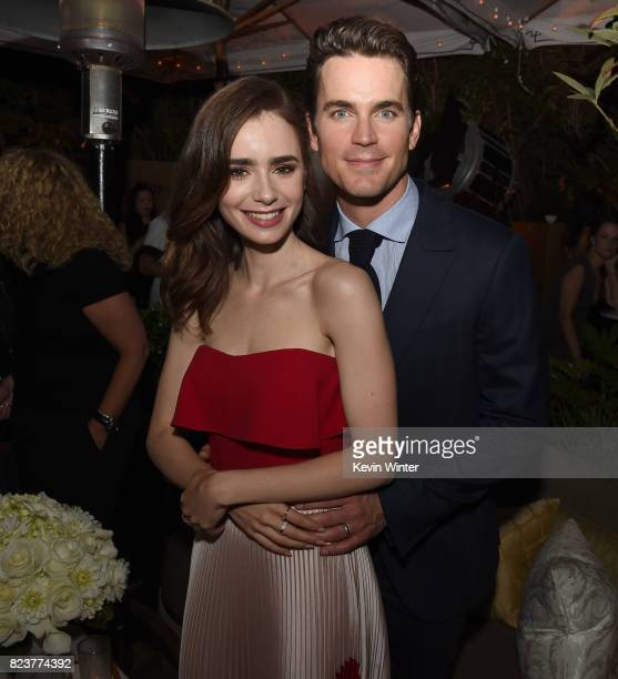 Actors Lily Collins and Matt Bomer pose at the after party for the premiere of Amazon Studios' 'The Last Tycoon' at the Chateau Marmont in West...
