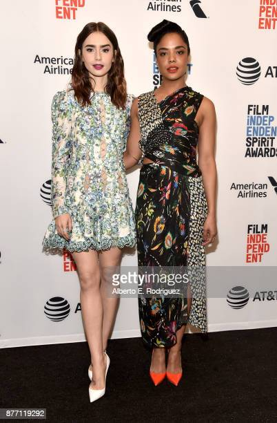 Actors Lily Collins and Tessa Thompson attend the Film Independent 2018 Spirit Awards press conference at The Jeremy Hotel on November 21 2017 in...