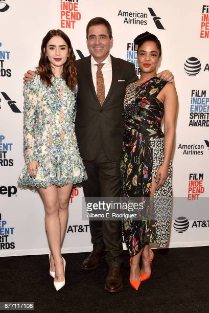 Actors Lily Collins President of Film Independent Josh Welsh and actor Tessa Thompson attend the Film Independent 2018 Spirit Awards press conference...