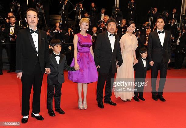Actors Lily Franky Shogen Whang Yoko Maki director Hirokazu Koreeda actors Machiko Ono Keita Ninomiya and Masaharu Fukuyama attend the 'Soshite...