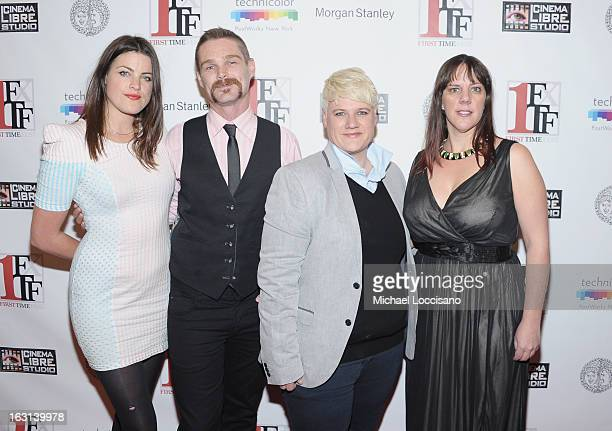 Actors Lily Hall and Kevin Dee and cowriters director Sophie O'Connor and Kat Holmes attend the opening night party for the 2013 First Time Fest at...