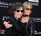 Actors Lily Tomlin and Jane Fonda arrive at the 3rd Biennial Rebels With A Cause Fundraiser at Barker Hangar on May 11 2016 in Santa Monica California