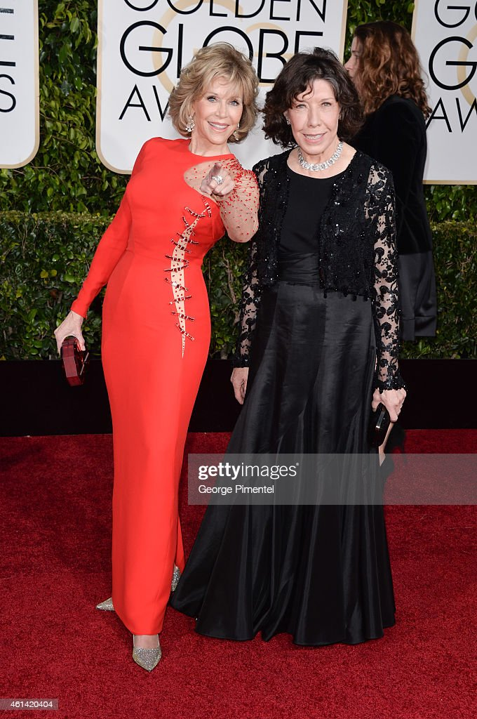 Actors Lily Tomlin (L) and Jane Fonda attend the 72nd Annual Golden Globe Awards at The Beverly Hilton Hotel on January 11, 2015 in Beverly Hills, California.
