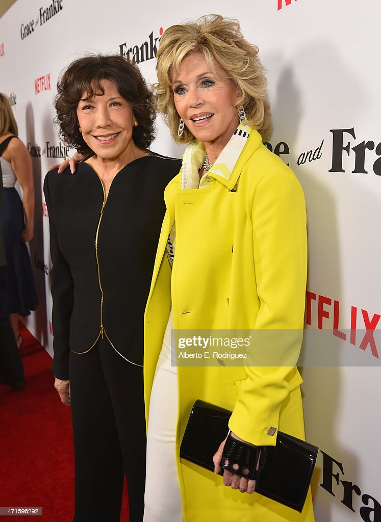 Actors Lily Tomlin and Jane Fonda attend the premiere of Netflix's 'Grace and Frankie' at Regal Cinemas LA Live on April 29 2015 in Los Angeles...