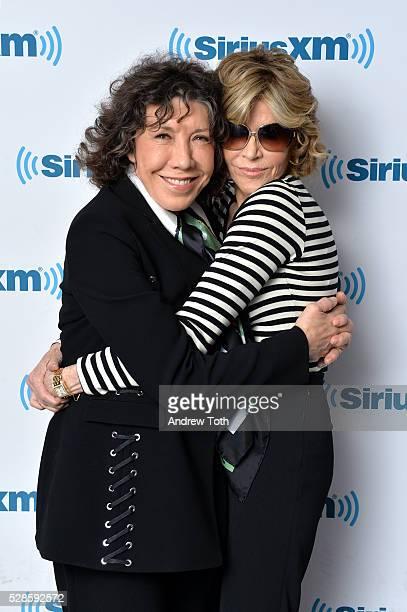 Actors Lily Tomlin and Jane Fonda visit SiriusXM on May 06 2016 in New York New York
