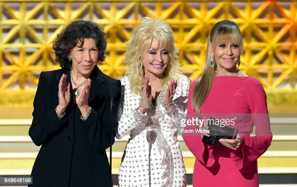 Actors Lily Tomlin Dolly Parton and Jane Fonda speak onstage during the 69th Annual Primetime Emmy Awards at Microsoft Theater on September 17 2017...
