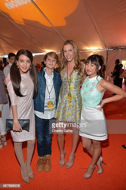 Actors Limimar Jace Norman guest and Haley Tju attend Nickelodeon's 28th Annual Kids' Choice Awards held at The Forum on March 28 2015 in Inglewood...