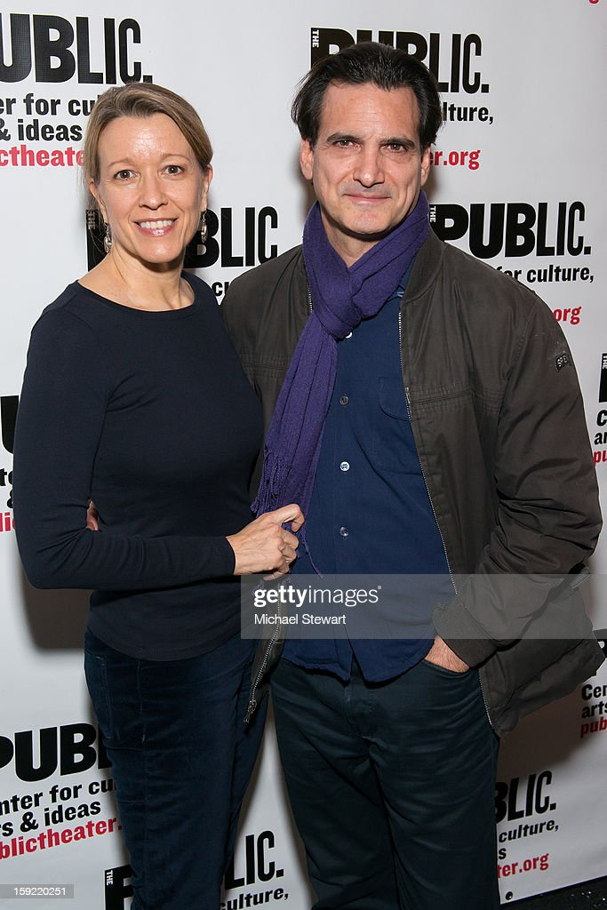 Actors Linda Emond (L) and Matte Osian attends the Under The Radar Festival 2013 Opening Night Celebration at The Public Theater on January 9, 2013 in New York City.