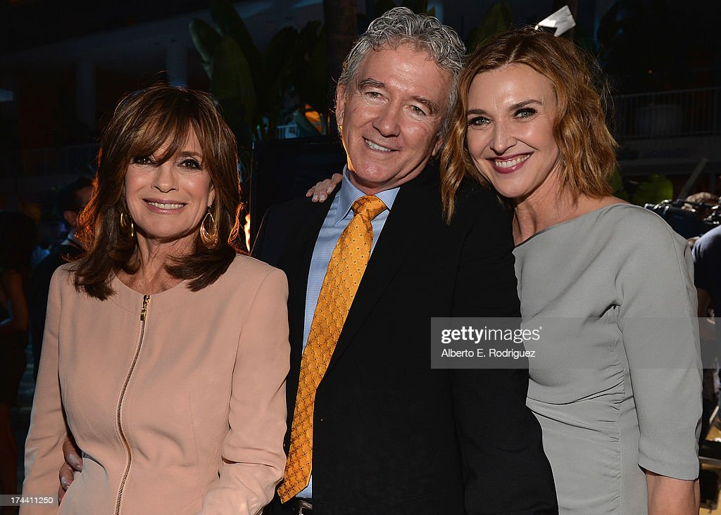 Actors <a gi-track='captionPersonalityLinkClicked' href=/galleries/search?phrase=Linda+Gray&family=editorial&specificpeople=159564 ng-click='$event.stopPropagation()'>Linda Gray</a>, <a gi-track='captionPersonalityLinkClicked' href=/galleries/search?phrase=Patrick+Duffy+-+Actor&family=editorial&specificpeople=224536 ng-click='$event.stopPropagation()'>Patrick Duffy</a> and <a gi-track='captionPersonalityLinkClicked' href=/galleries/search?phrase=Brenda+Strong&family=editorial&specificpeople=202892 ng-click='$event.stopPropagation()'>Brenda Strong</a> attend TNT's 25th Anniversary Party at The Beverly Hilton Hotel on July 24, 2013 in Beverly Hills, California.