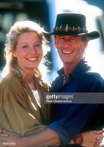 Actors Linda Kozlowski and Paul Hogan on the set of their new film 'Crocodile Dundee II' in 1987 on location in the Northern Territory Australia