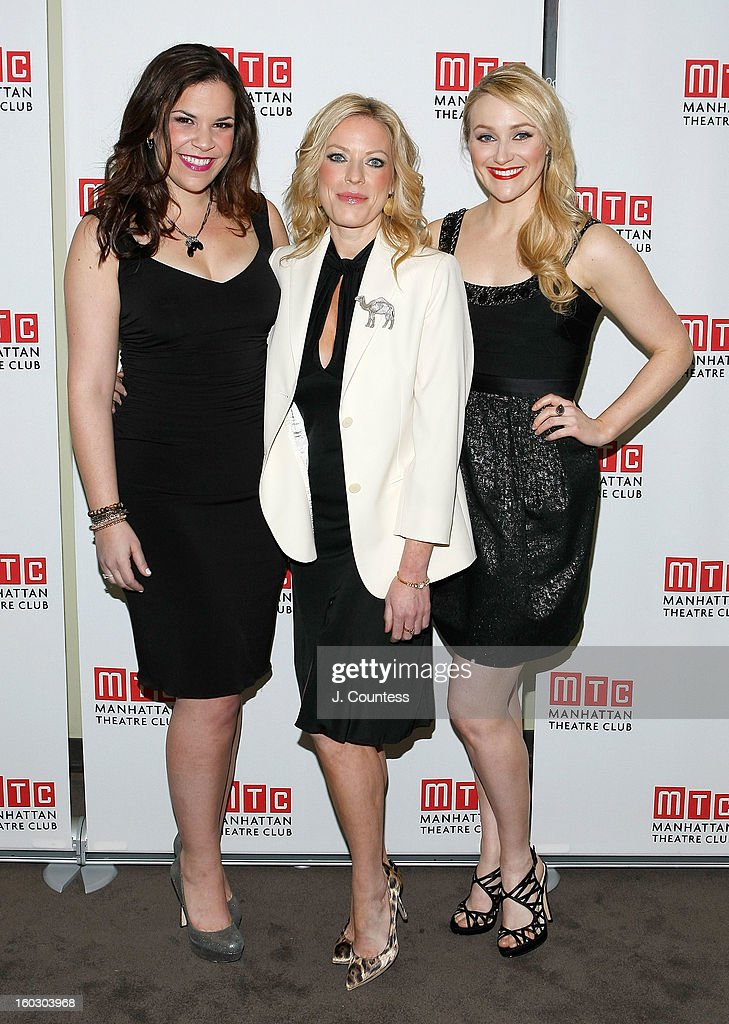 Actors Lindsay Mendez, Sherie Rene Scott and Betsy Wolfe attend the 2012 Manhattan Theatre Club Benefit: An Intimate Night at Jazz at Lincoln Center on January 28, 2013 in New York City.