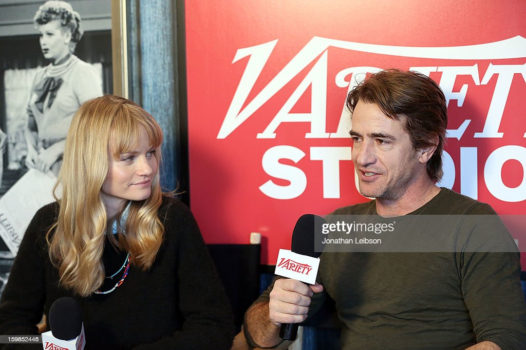 Actors Lindsay Pulsipher (L) and Dermot Mulroney attend Day 3 of the Variety Studio At 2013 Sundance Film Festival on January 21, 2013 in Park City, Utah.