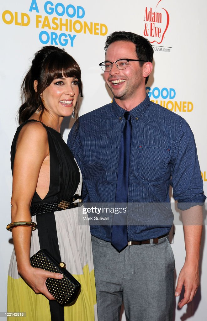 Actors Lindsay Sloane and Nick Kroll arrive for a screening of 'A Good Old Fashioned Orgy' on August 25 2011 in Hollywood California