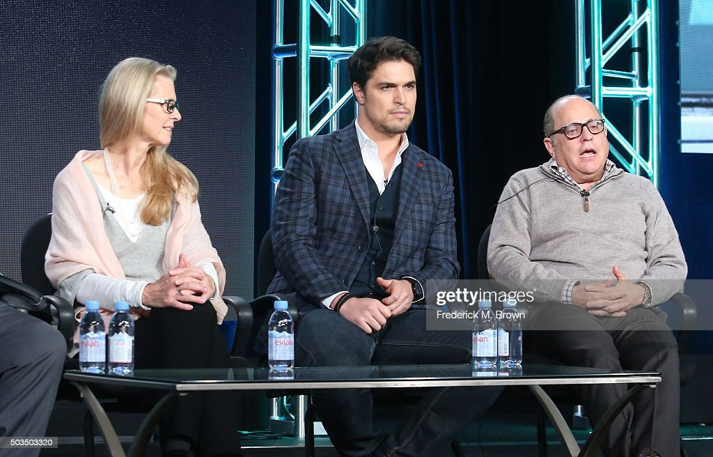Actors Lindsay Wagner and Diogo Morgado and producer George Shamieh speak onstage during the 'Love Finds You in Valentine' panel as part of the UP portion of This is Cable 2016 TCA Press Tour at Langham Hotel on January 5, 2016 in Pasadena, California.