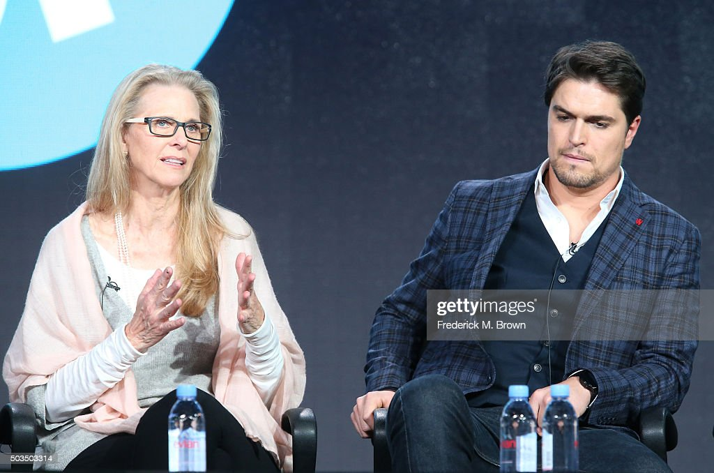 Actors Lindsay Wagner and Diogo Morgado speak onstage during the 'Love Finds You in Valentine' panel as part of the UP portion of This is Cable 2016 TCA Press Tour at Langham Hotel on January 5, 2016 in Pasadena, California.