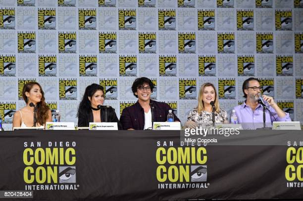 Actors Lindsey Morgan Marie Avgeropoulos Bob Morley and Eliza Taylor and writer/producer Jason Rothenberg speak onstage at ComicCon International...