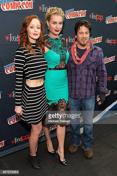 Actors Lindy Booth Rebecca Romijn and Christian Kane attend TNT Network's 'The Librarians' press room during 2014 New York Comic Con Day 2 at Jacob...