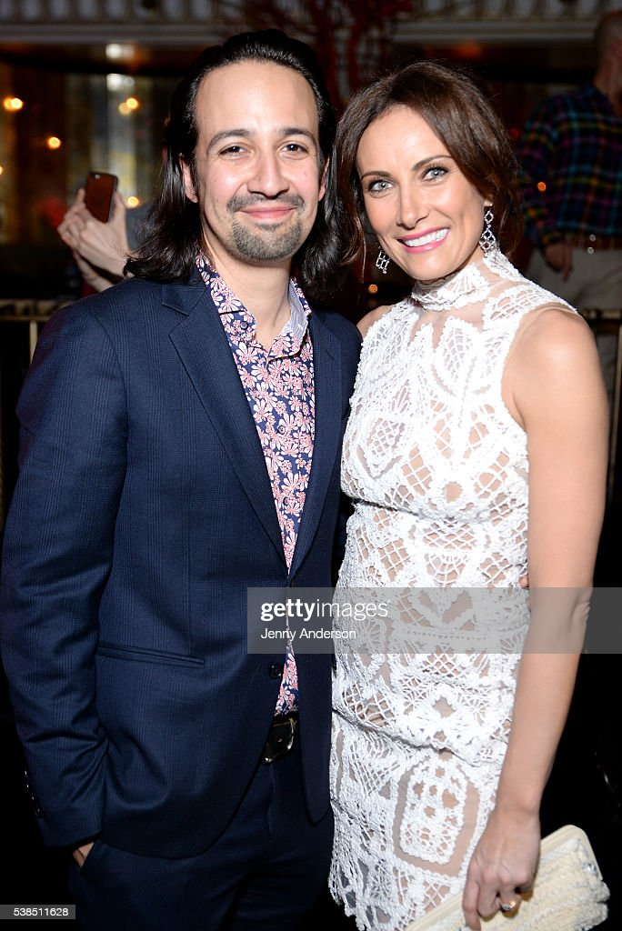 Actors Lin-Manuel Miranda (L) and Laura Benanti attend the Tony Honors Cocktail Party presenting the 2016 Tony Honors For Excellence In The Theatre and honoring the 2016 Special Award recipients at Diamond Horseshoe on June 6, 2016 in New York City.