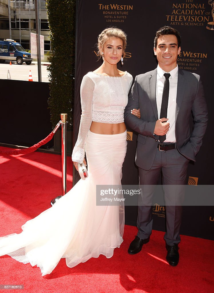 Actors Linsey Godfrey (L) and Robert Adamson attend the 2016 Daytime Emmy Awards - Arrivals at Westin Bonaventure Hotel on May 1, 2016 in Los Angeles, California.