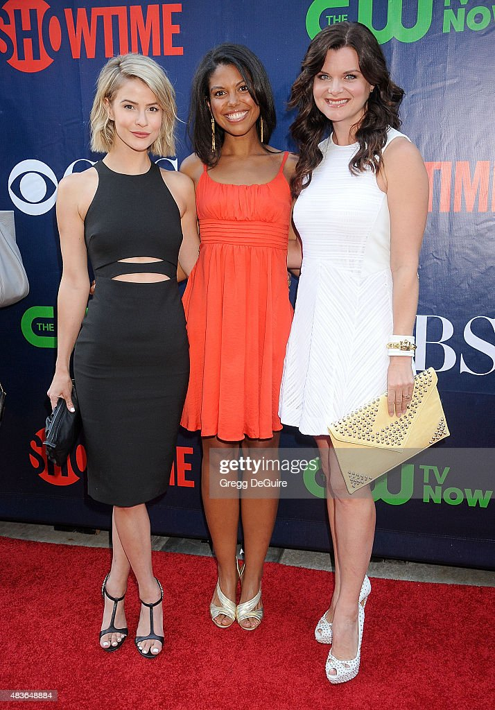 Actors <a gi-track='captionPersonalityLinkClicked' href=/galleries/search?phrase=Linsey+Godfrey&family=editorial&specificpeople=7905776 ng-click='$event.stopPropagation()'>Linsey Godfrey</a>, Karla Mosley and <a gi-track='captionPersonalityLinkClicked' href=/galleries/search?phrase=Heather+Tom&family=editorial&specificpeople=208780 ng-click='$event.stopPropagation()'>Heather Tom</a> arrive at the CBS, CW And Showtime 2015 Summer TCA Party at Pacific Design Center on August 10, 2015 in West Hollywood, California.