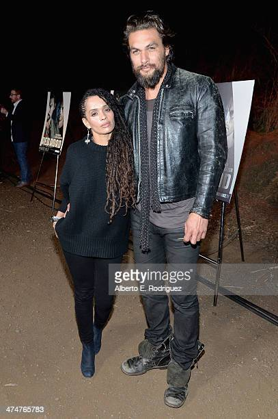 Actors Lisa Bonet and Jason Momoa attend a screening of Sundance Channel's 'The Red Road' at The Bronson Caves at Griffith Park on February 24 2014...