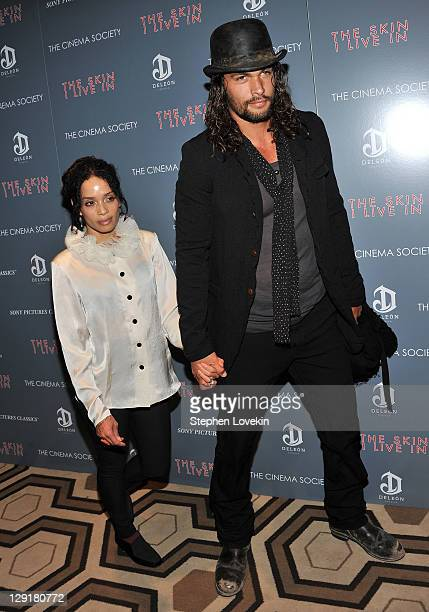Actors Lisa Bonet and Jason Momoa attend the Cinema Society DeLeon Tequila screening of 'The Skin I Live In' at the Tribeca Grand Hotel on October 13...