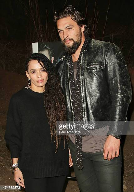 Actors Lisa Bonet and Jason Momoa attend the screening of 'The Red Road' at The Bronson Caves at Griffith Park on February 24 2014 in Los Angeles...