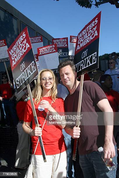 Actors Lisa Kudrow and Matthew Perry picket in support of the Writers Guild of America which is currently onstrike for increased residuals from film...