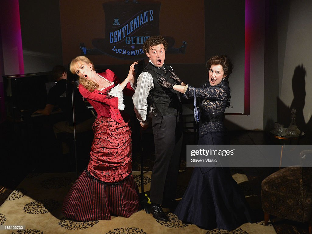 Actors Lisa O'Hare, Bryce Pinkham and Lauren Worsham perform at 'A Gentleman's Guide To Love And Murder' Press Preview at Norwood Club on October 4, 2013 in New York City.