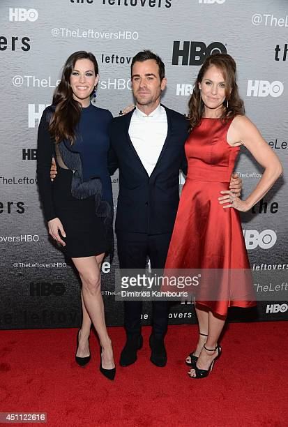 Actors Liv Tyler Justin Theroux and Amy Brenneman attend 'The Leftovers' premiere at NYU Skirball Center on June 23 2014 in New York City