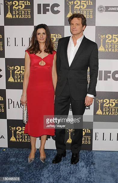 Actors Livia Giuggioli and Colin Firth attend the 2010 Film Independent's Spirit Awards at Nokia Theatre LA Live on March 5 2010 in Los Angeles...
