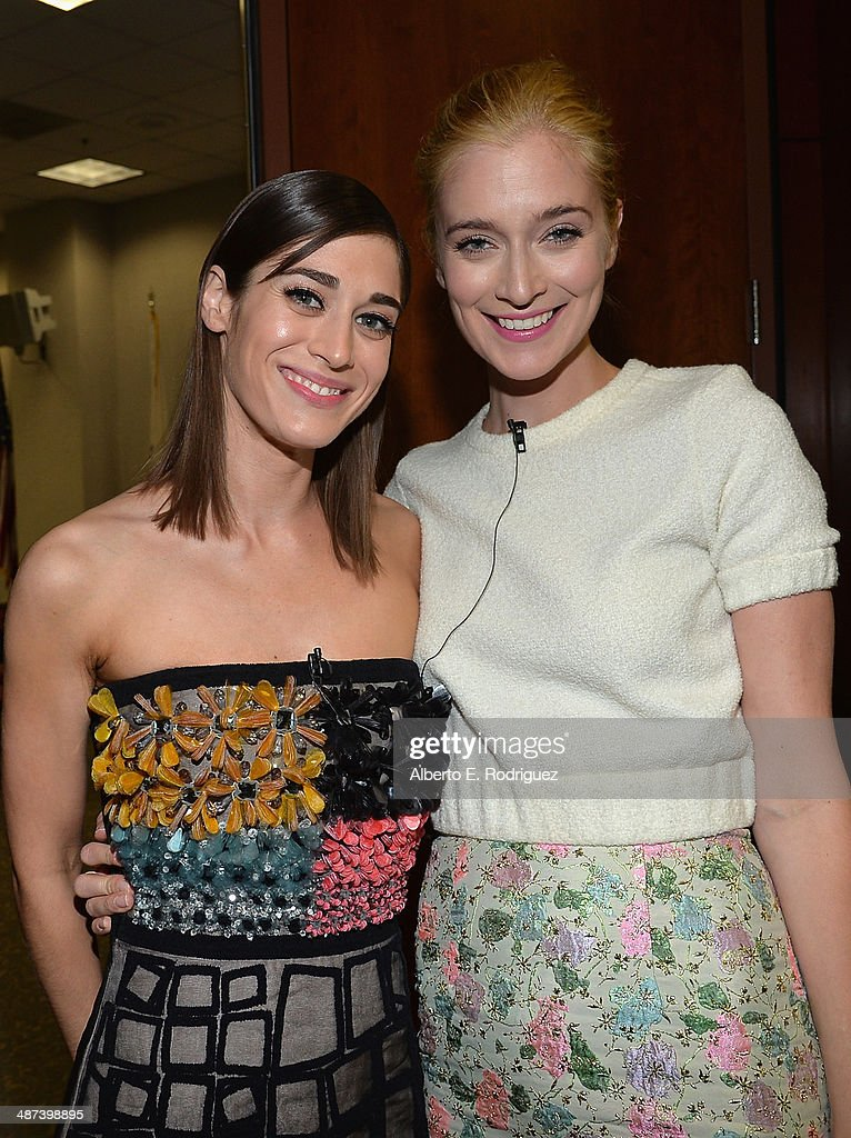 Actors Lizzy Caplan and Caitlin Fitzgerald arrive to an exclusive conversation with the cast of Showtime's 'Masters Of Sex' at Leonard H. Goldenson Theatre on April 29, 2014 in North Hollywood, California.
