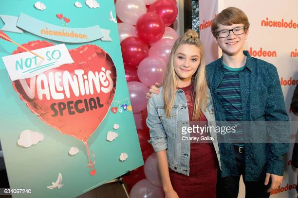 Actors Lizzy Greene and Aidan Miner attend Nickelodeon's Not So Valentine's Special on February 6 2017 in Los Angeles California