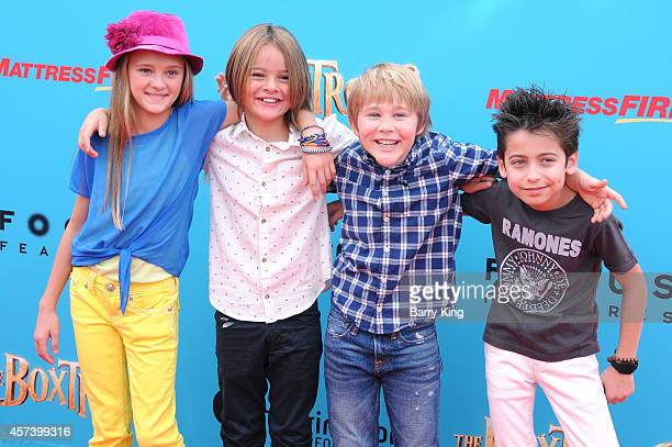 Actors Lizzy Greene Mace Coronel Casey Simpson and Aidan Gallagher attend the premiere of 'The Boxtrolls' at Universal CityWalk on September 21 2014...