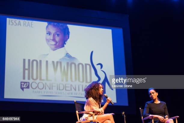 Actors Logan Browning and DawnLyen Gardner speak at 'A Conversation with Issa Rae' 'Rising Stars' Panel Hosted by SAG/AFTRA at Saban Theatre on...