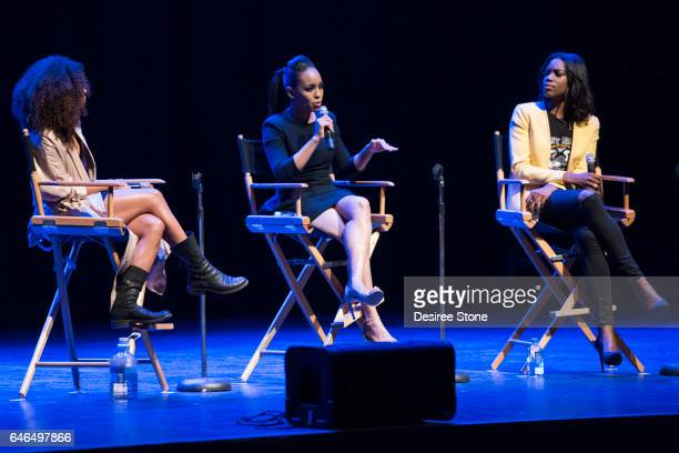 Actors Logan Browning DawnLyen Gardner and moderator speak at 'A Conversation with Issa Rae' 'Rising Stars' Panel Hosted by SAG/AFTRA at Saban...
