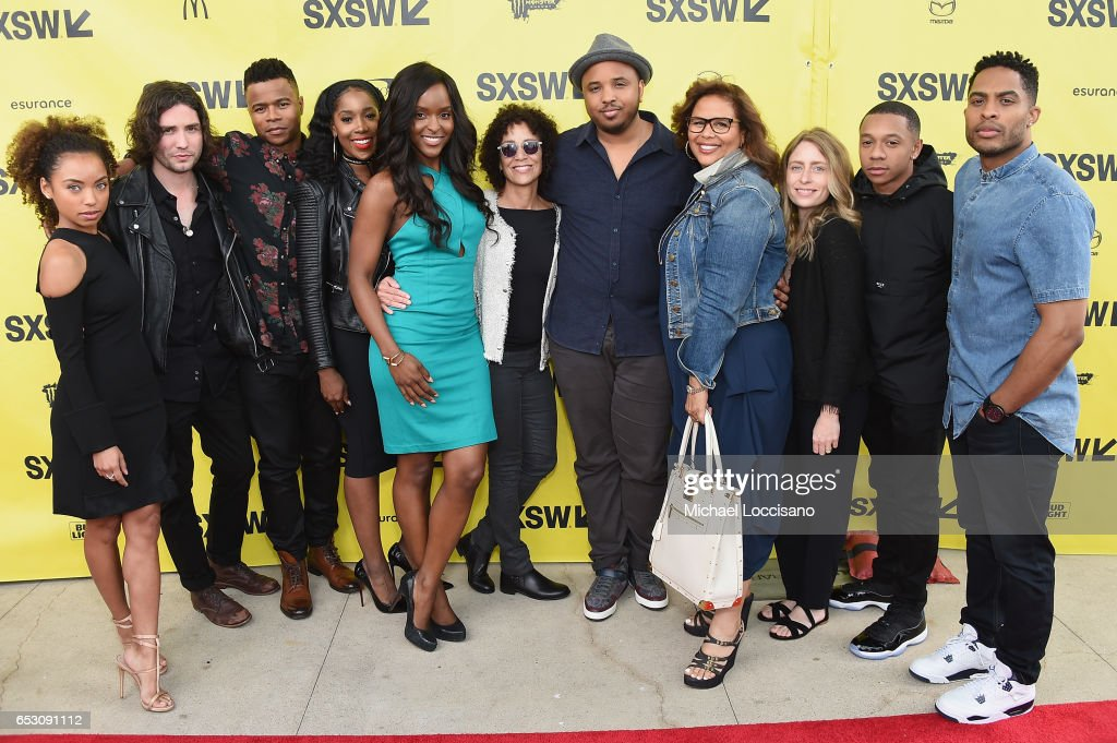 Actors Logan Browning, John Patrick Amedori, Marque Richardson, Ashley Blaine Featherson and Antoinette Robertson, Producer Stephanie Allain Bray, Director Justin Simien, Executive Producer Yvette Lee Bowser, Producer Julia Lebedev, and actors DeRon Horton and Brandon P. Bell attend attend the 'Dear White People' premiere during 2017 SXSW Conference and Festivals at the ZACH Theatre on March 13, 2017 in Austin, Texas.