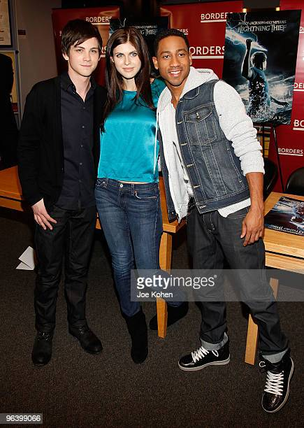 Actors Logan Lerman Alexandra Daddario and Brandon T Jackson promote 'Percy Jackson And The Olympians The Lightning Thief' at Borders Kips Bay on...