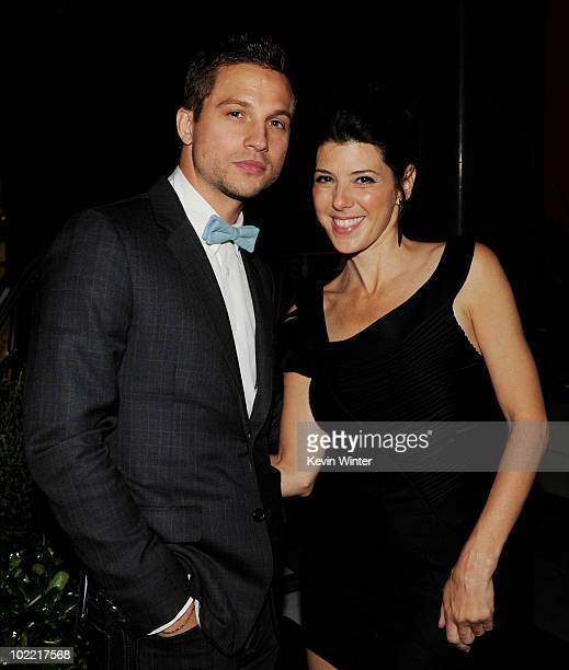 Actors Logan MarshallGreen and Marisa Tomei pose at the after party for the premiere of Fox Searchlight Pictures' 'Cyrus' at the Nokia Club Terrace...