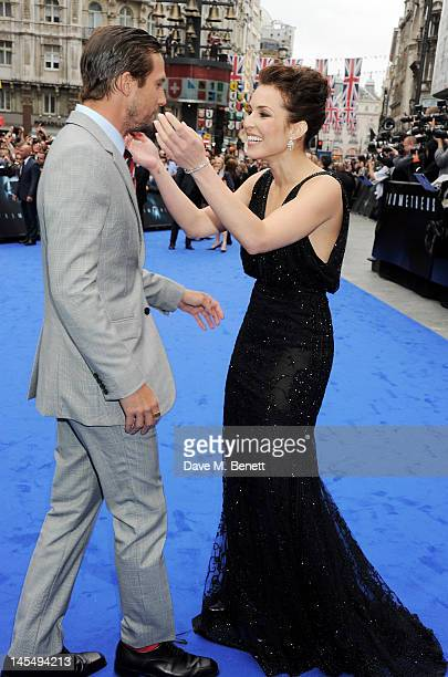 Actors Logan MarshallGreen and Noomi Rapace attend the World Premiere of 'Prometheus' at Empire Leicester Square on May 31 2012 in London England