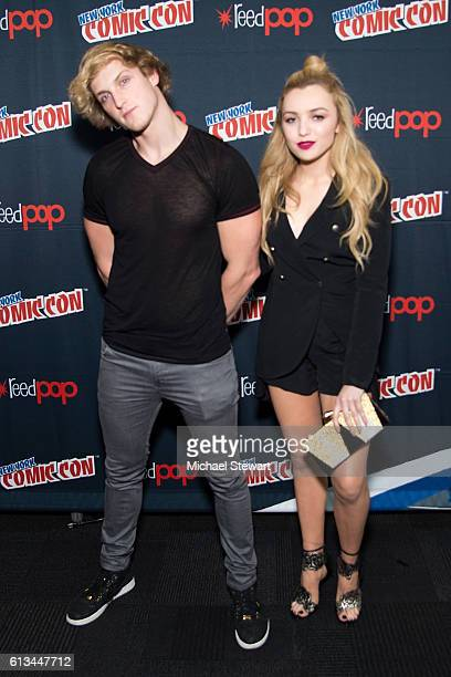 Actors Logan Paul and Peyton List attend 'The Thinning' Movie Panel Advance Screening press room during 2016 New York Comic Con at the Jacob Javitz...