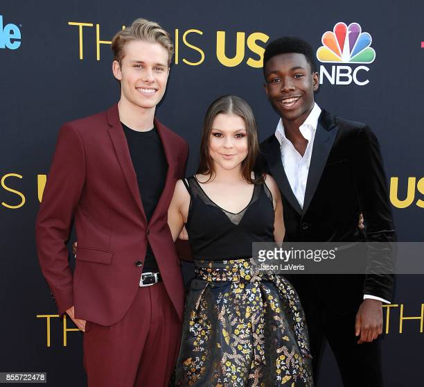 Actors Logan Shroyer Hannah Zeile and Niles Fitch attend the season 2 premiere of 'This Is Us' at NeueHouse Hollywood on September 26 2017 in Los...