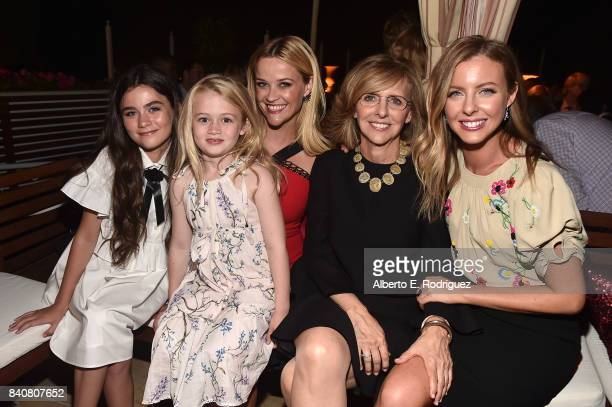 Actors Lola Flannery Grace Eden Redfield Reese Witherspoon producer Nancy Meyers and writer/director Hallie MeyersShyer attend the after party for...