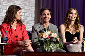 Actors Lola Kirke Gael García Bernal and Saffron Burrows speak onstage during the Screening and QA for Amazon's 'Mozart In The Jungle' at Hollywood...