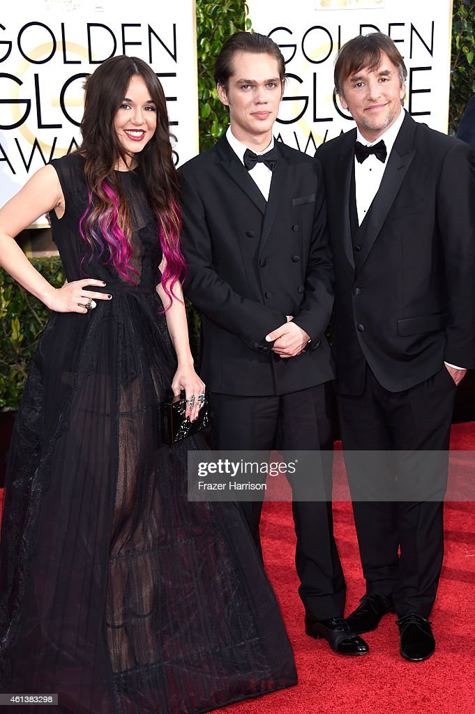 Actors Lorelei Linklater, Ellar Coltrane and director Richard Linklater attend the 72nd Annual Golden Globe Awards at The Beverly Hilton Hotel on January 11, 2015 in Beverly Hills, California.
