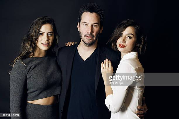 Actors Lorenza Izzo Keanu Reeves and Ana de Armas from 'Knock Knock' pose for a portrait at the Village at the Lift Presented by McDonald's McCafe...