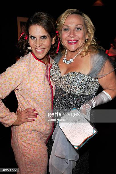 Actors Lori Alan and Nicole Sullivan backstage at the Kitty Bungalow Charm School for Wayward Cats presents CATbaret on August 1 2015 in Hollywood...