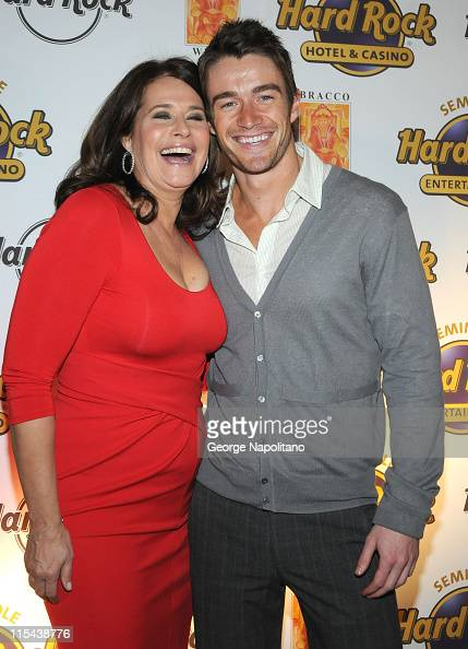 Actors Lorraine Bracco and Robert Buckley during the launch of Bracco Wines at the Hard Rock Cafe on February 25 2008 in New York City