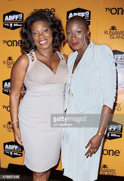 Actors Lorraine Toussaint and Aisha Hinds attend the 'Runaway Island' premiere during the 2015 American Black Film Festival at AMC Empire on June 12...